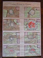 Grote ingelijste kaart van Henegouwen (53x38cm) en 2 kleinere, ingekleurd
