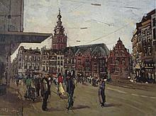 Jan Rijlaarsdam (1911-2007) 'Nijmegen' olie op doek, ges. 60x80cm