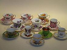 Elf kop en schotels, porselein, w.o. 4x Royal Albert