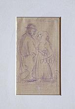 Kees van Dongen (1877-1968) 'Echtpaar' potloodtekening op geruit papier, 15x9cm (met certificaat van echtheid)