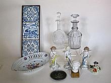 Allerhande porselein, aardewerk en glas, 10 stuks
