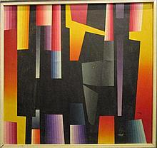 Helmut Scholl, 'Abstract met lijnen', doek, ges. (beschadiging) 85x90cm