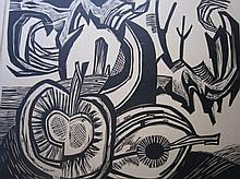 N.J. Hubert Levigne (1905-1989) 'Stilleven met fruit' houtsnede in passe- partout, ges. 38x44cm