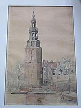J.C. Teunisse 'Montalbaanstoren', aquarel, ges. 53x36cm