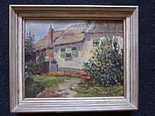 Schilderij 'Boerderijtje' doek, ges. 24x30cm