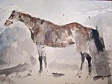 Jan Groenestein (1919-1971) 'Paard in de stal' aquarel in passe- partout, ges. en gedat. Amsterdam 1961, ook op achterzijde, 42x52cm