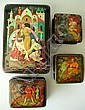 GROUP RUSSIAN LACQUERED BOXES