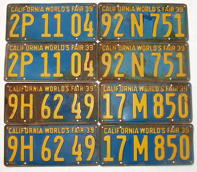 1930's CALIFORONIA 'DOUBLE' LICENSE PLATES