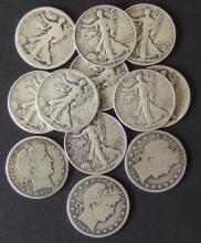 BARBER & LIBERTY WALKING 1/2 DOLLAR COINS (12)