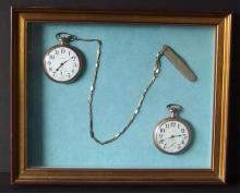 ANTIQUE POCKET WATCHES DISPLAY IN SHADOW BOX