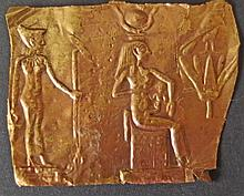 EGYPTIAN ISIS GOLD FOIL PLAQUE New Kingdom