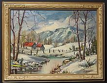 SIGNED WINTER LANDSCAPE OIL PAINTING