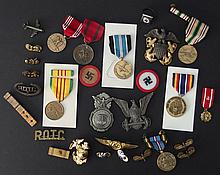 LOT OF MILITARY MEDALS, PINS, BADGES ETC.