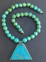 ANCIENT EGYPTIAN FAIENCE LOTUS TERMINAL NECKLACE