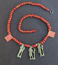 EGYPTIAN JASPER & DEITIES NECKLACE 3rd Int.Period