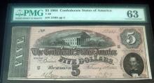 PMG $5 1864 CONFEDERATE STATES NOTE 63