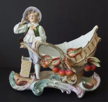 GERMAN BISQUE FIGURAL CENTERPIECE BOWL