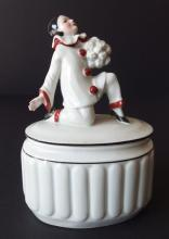 GERMAN PORCELAIN PIERROT POWDER JAR