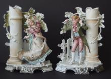 PAIR OF ANTIQUE GERMAN BISQUE FIGURAL VASES