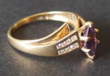 10KT AMETHYST & DIAMOND RING