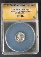 115-95 BC BACTRIA SILVER DRACHM COIN ANACS EF-45
