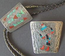 TWO (2) VINTAGE NATIVE AMERICAN SILVER BOLOS