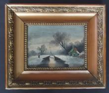 19TH CENTURY WINTER LANDSCAPE PAINTING