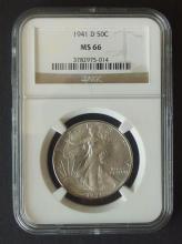 1941 D 50 C LIBERTY WALKING NGC MS-66 COIN