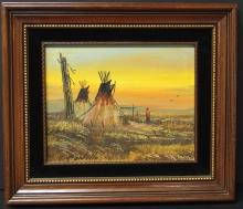 ROSE PONTILLO NATIVE AMERICAN OIL PAINTING