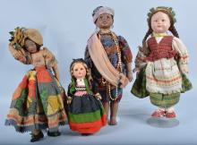 Lot of 4 World Dolls, Bisque Etc