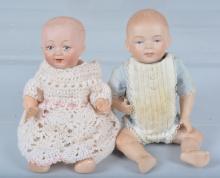 Lot of 2 Antique German Bisque Baby Dolls