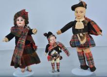 Lot of 3 Scottish Dolls, 2 are German Bisque