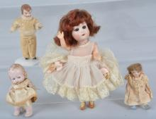 Lot of 4 Bisque Dolls