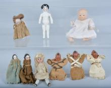 Lot of 9 Miniature Dolls, Bisque & More