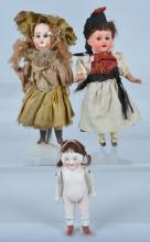Lot of 3 Miniature Bisque Dolls, 390 AM & More