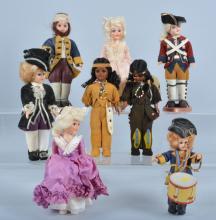 Lot of 8 Revolutionary War Dolls, & More