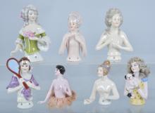 Lot of 7 German Half Dolls, Vintage