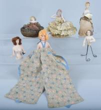 Lot of 6 German Half dolls, Vintage