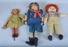 Lot of 3 Raggedy Ann & Andy Dolls