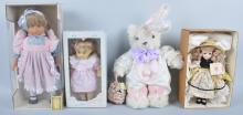 Lot of 3 Dolls and Easter Bear