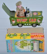 JAPAN Tin Friction BUMP ARMY CAR w/BOX