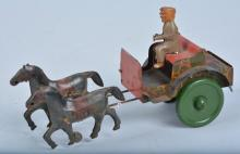 MARX Tin Windup 2 HORSE DRAWN WAGON