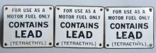 Lot of 3 Porcelain GAS PUMP LEAD SIGNS