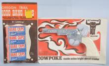 HUBLEY COWPOKE CAP GUN & OREGON TRAIL CAPS moc