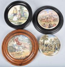 4- 19th Century ENGLISH TRANSFERWARE POT LIDS