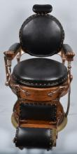 Antique KOKEN Oak DOUBLE ROUND SEAT BARBER CHAIR
