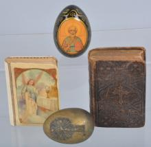 Lot of 4 Religious Items, 1863 Bible & More