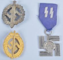Lot of 2 WW2 Nazi Germany SA Badges