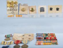 Lot of US Military Buttons, Medals & More