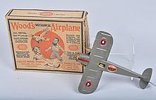 GIRARD Tin Windup WOODS AIRPLANE w/ BOX